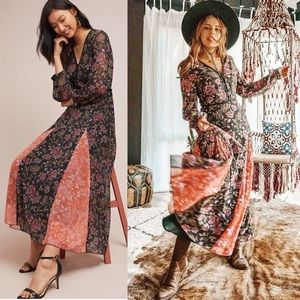 Anthropologie Laia Ines Long Sleeve Maxi Dress S